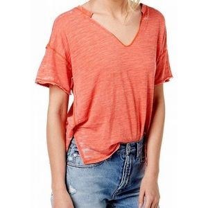 free people coral slouchy burnout tee